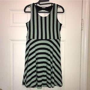 Mint green and black striped tank top dress